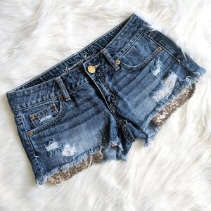American Eagle Cut Off Jean Shorts Sequin Pockets